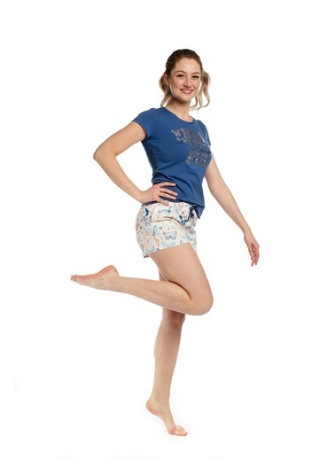 Pamuk & Pamuk Kelebek Desen Kadın Şortlu Pijama Takım Renkli
